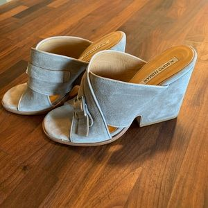 Alberto Fermani Suede Wedge Slides